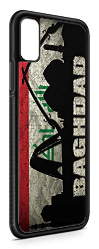 Kompatibel mit iPhone X Silikon Hülle Handyhülle Flexibles Slim Case Cover Irak Fahne Flagge Schwarz