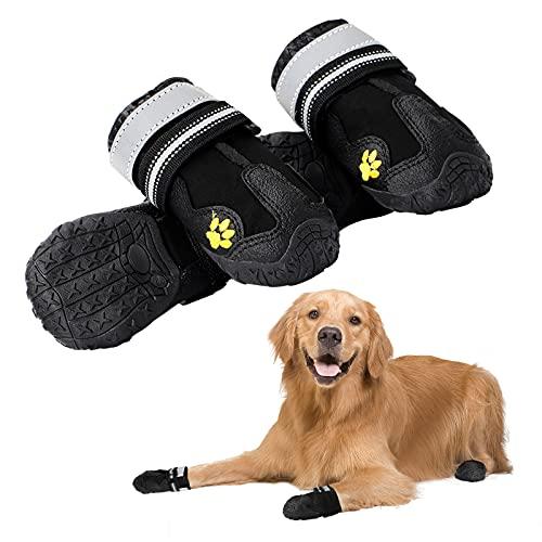 KAMEUN Hundeschuhe Pfotenschutz, 4 Stück mit Anti-Rutsch Sohle, reflektierendem Riemen, Klettverschluss wasserdicht für kleine mittelgroße große Hunde (S(5.6-5.8CM))