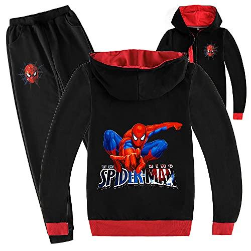 ZKDT Spiderman Ensemble de sweat à capuche unisexe pour garçons et filles de sport de jogging avec fermeture éclair Convient pour les enfants de 3 à 14 ans, a7, 110 cm