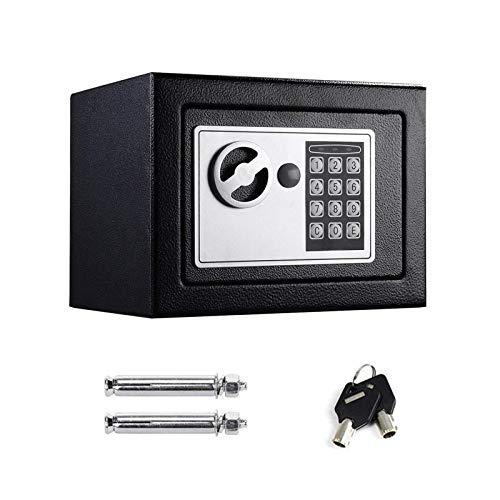 Tresor Wandtresor Möbeltresor mit Elektronikschloss Zahlenschloss und Schlüssel Mini Tresor mit Code Starker Haltbarer Stahl Safe 4.6L - Schwarz