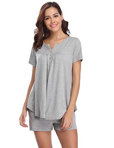Abollria Schlafanzug Damen Pyjama Kurz Baumwolle Nachtwäsche V-Ausschnitt Basic Sleepwear Zweiteilige Schlafanzug Hausanzug Mit Negligee Shorts & Shirt mit für Sommer