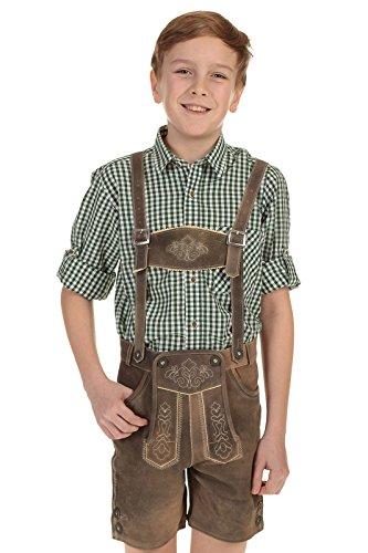 Isar-Trachten Kinder Lederhose kurz Trachtenlederhose Jungen mit Stegträger und Stickerei 55810 braun Gr.92
