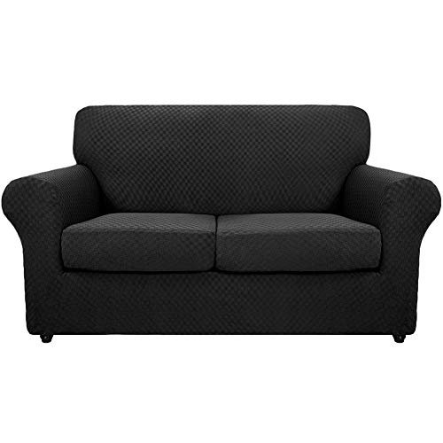 SYLC Fundas de sofá de 3 piezas Jacquard para 2 plazas grandes con 2 fundas de cojín separadas, fundas elásticas antideslizantes con parte inferior elástica (negro)