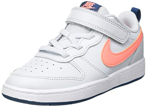 Nike Court Borough Low 2 (TDV), Scarpe da Ginnastica, Pure Platinum/Atomic Pink-Valerian Blue-White, 27 EU