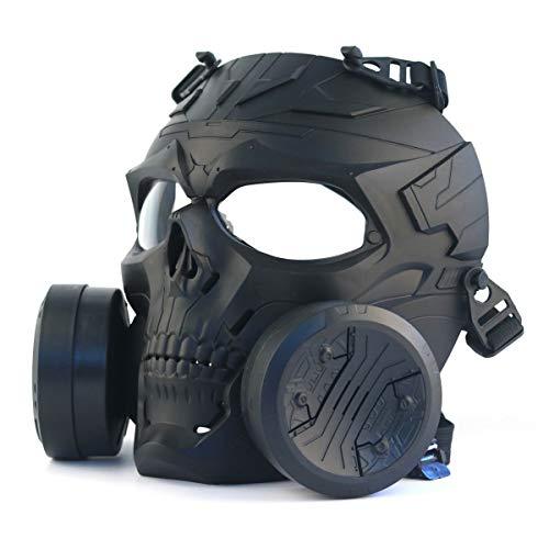 Máscara táctica para airsoft y paintball, máscara de calavera mecánica con doble ventilador turbo
