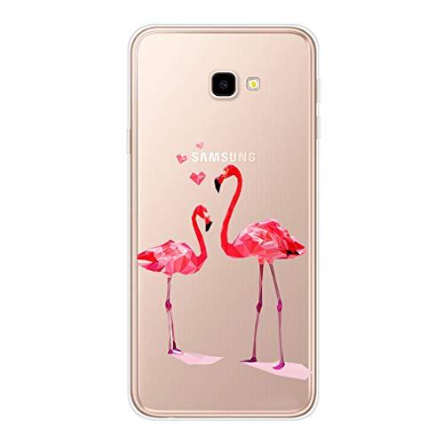 Homikon Silikon Hülle Karikatur TPU Tasche Handyhülle Transparente Durchsichtig Kirstall Clear Dünn Schutzhülle Stoßdämpfend Soft Case Cover Kompatibel mit Samsung Galaxy J4 Plus 2018 - Flamingo