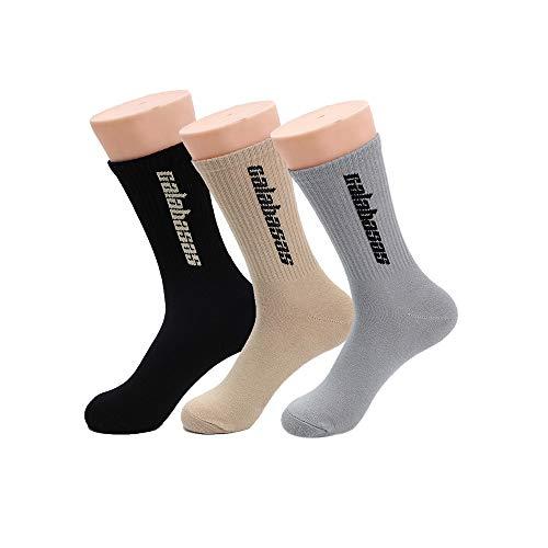 TTD 3 paquetes de calcetines de moda callejera con calcetines de algodón de tubo Calabasas para hombres y mujeres medias de skate