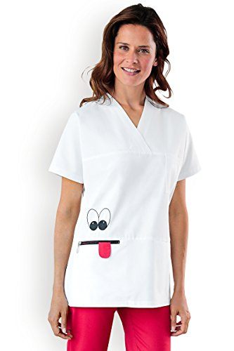 CLINIC DRESS - Damen-Schlupfkasack mit Gesicht weiß, Motiv Gesicht (Applikation) 42