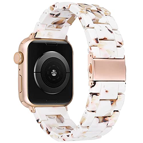 V-MORO Bands Compatible with Series 6 Apple Watch Band 44mm Women with Rose Gold Stainless Steel Buckle Bracelet Resin Replacement for iWatch Series 5/4/3/2/1 42mm/44mm Nougat