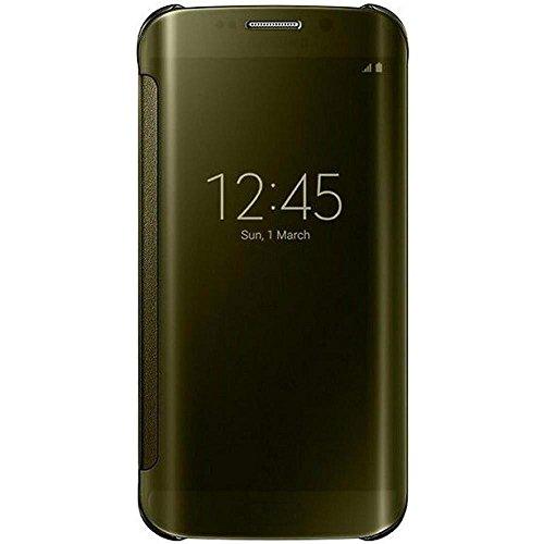 Samsung Handyhülle Schutzhülle Protective Case Cover mit Clear View Klarsicht Cover für Galaxy S6 Edge, gold