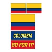 コロンビア共和国 フェイスシール 国旗&メッセージ 3種5枚セット