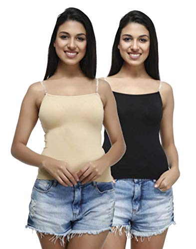 PLUMBURY Women's Padded Cotton Adjustable Camisole With Built-in Shelf Bra (Pack of 2) Black/Beige, Size 36
