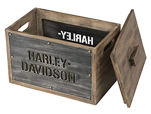Harley-Davidson Wooden Storage Box w/Lid - Stainless Steel Laser Cut HDL-18587