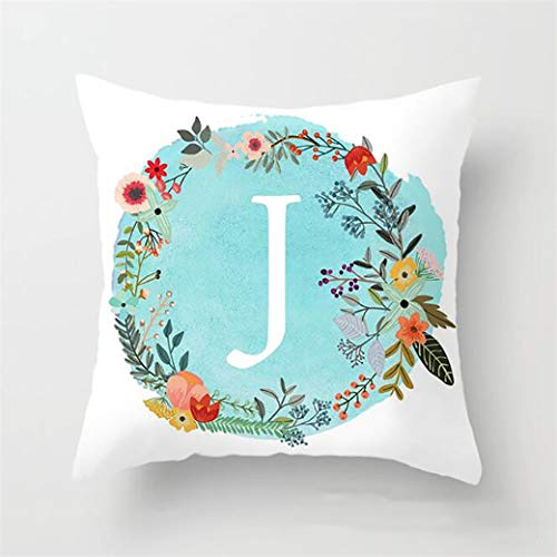 HBWHY Capital Letter Cushion Cover A-Z Decorative Light Blue Cushion Covers Case Floral Pillow Cases for Home Office Sofa Couch Car Bed Cushions Accessories 45cm*45cm,J