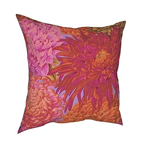 Fundas de almohada decorativas de crisantemo japonés rosa cuadrado funda de cojín para habitación, dormitorio, sofá, silla, coche, 50,8 x 50,8 cm