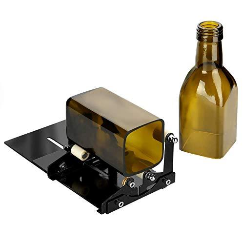 AGPTEK - Máquina de corte de vidrio, cuadrado y redondo, cortador de botellas de vino y cerveza, kit de herramientas, color negro, versión actualizada