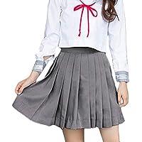 beautyjourney Faldas Skater Plisadas de Uniforme Escolar para niñas Falda Corta Rockabilly de Color Liso para Mujer Minifalda Cintura Elástica