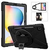 MoKo Funda Compatible con Galaxy Tab S6 Lite 10.4 2020 SM-P610/P615 Tableta, Protectora Cubierta con Soporte de Rotación de 360 Grados, Correa de Mano/Hombro, Soporte de Pencil - Negro