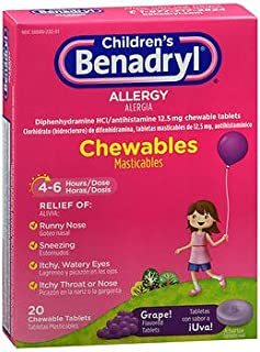 Benadryl Children's Allergy Chewable Tablets Grape Flavored - 20 ct, Pack of 3