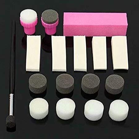 Waymeduo 19PCS / Set Nail Art polonais éponge brosse estampage manucure transfert de modèle polonais
