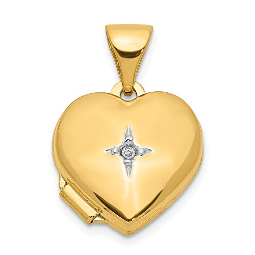 14k Yellow Gold 12mm Heart Diamond Photo Pendant Charm Locket Chain Necklace That Holds Pictures Fine Jewelry For Women Gifts For Her