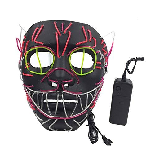 Vxhohdoxs Halloween-Maske mit LED-Licht, zum Entfernen von Draht, beleuchtet, für Partys, Festivals, Cosplay, Kostüm-Zubehör