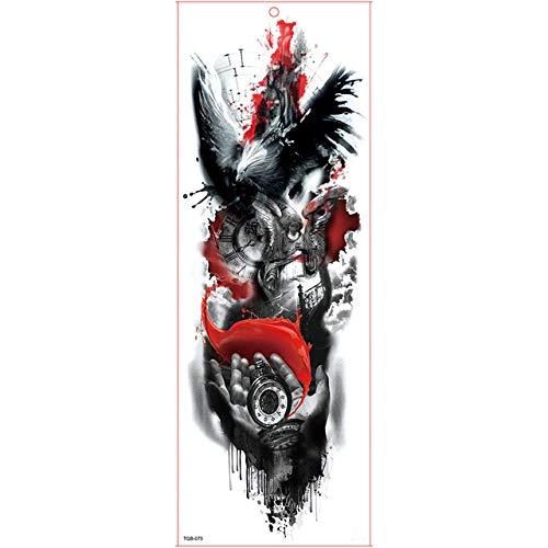 Etiqueta engomada del tatuaje a prueba de agua Big Arm Sleeve Tattoo Rose Dragon Flower Pattern Hombres y mujeres Body Arm Art Figure Tattoo Sticker 10pcs A