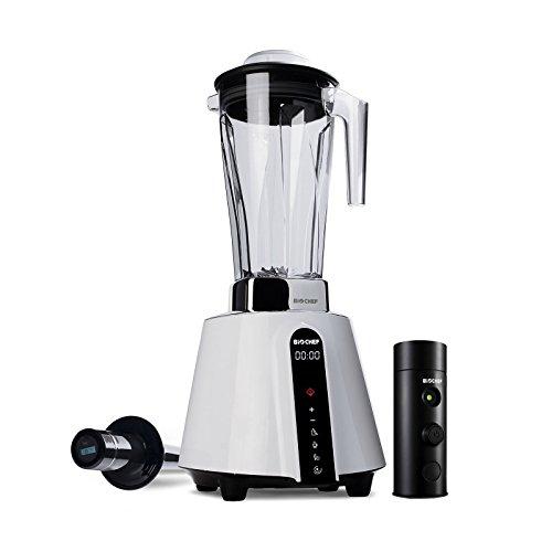 BioChef Living Food Vakuum Mixer - 1680 Watt Motor, 2L BPA freier Behälter - Hochleistungsmixer mit Temperaturanzeige im Stößel + Vakuumpumpe inkl Zubehör (Weiß)