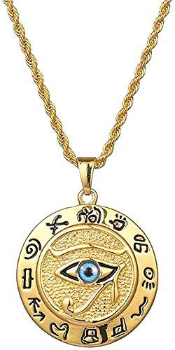 LBBYLFFF Collar Antiguo Egipto El Ojo de Horus Collar Pendientes para Mujeres y Hombres Joyas Redondas en Collar de Acero Inoxidable Dorado