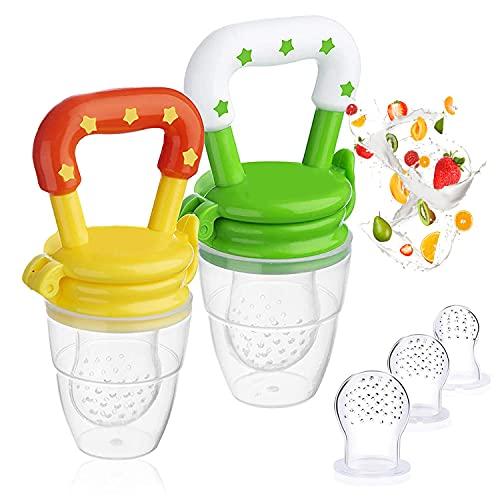 Fruchtsauger Baby - Obstsauger Baby ab 6 Monate, 2 Stück Fruchtschnuller für Obst und Gemüse, Schnuller BPA frei als Baby Zahnungshilfe - Helfender Freund für besonderes Geschmackserlebnis