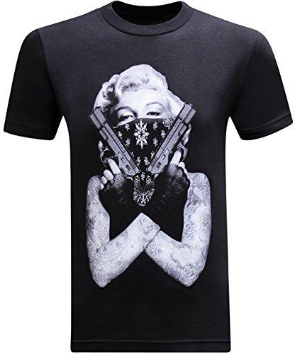 tees geek California Republic Marilyn Gangster Men's T-Shirt - (Large) - Black