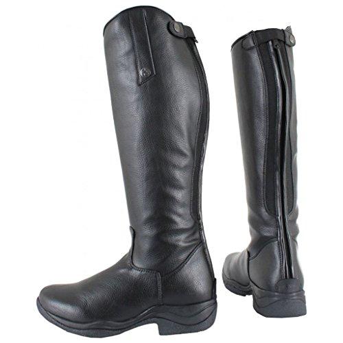Horka Lizz Reitstiefel für Erwachsene, weiches Leder, Netzstoff, elastische Schnürsenkel, Gummisohle, Schwarz, EU 42 / US 10 / AU 10