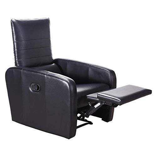 Manual reclinable Sofá Silla Moderna Plegable-Back Leather Silla reclinable Moderno Muebles for la Sala (Color : Negro, Type : One Seat)