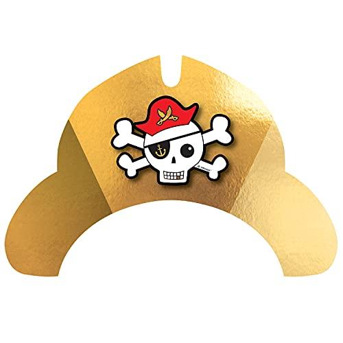 amscan 9909924 – Sombrero de fiesta pirata, 8 unidades, de papel, decoración de mesa, cumpleaños infantil, carnaval, fiesta temática
