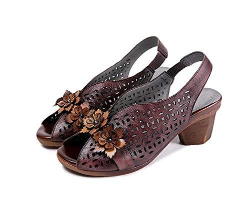 Sandalias para mujer, estilo étnico, de piel, hechas a mano, estilo retro, con boca de pez, sandalias de flores huecas, moda casual, 123, marrón, 37