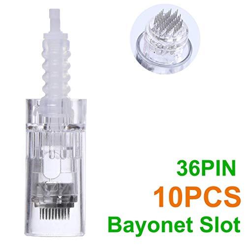 MAIZHAN Micro-Aiguille Cartouche de Remplacement pour Derma Pen Micro Nano Aiguilles Aiguilles de Tatouage à Tête (10Pcs Fente Baïonnette),36 PIN