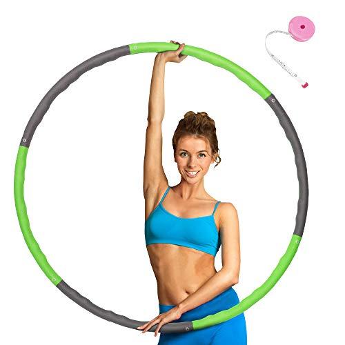 ATIVAFIT Hula Hoop Reifen mit Schaumstoff Beschwerter Reifen mit Einstallbarer Bereit 6 Abschnitten Sport Hula Hoop Reifen Gymnastikreifen für Fitness und Abnehmen (Grün)