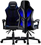 UOMAX Gaming Chair E-Sports LED Light Computer Chairs with Ergonomic Mesh Back Support. Flatten Widen Seat Lumbar Cushion, Adjustable PC Gamer Chair 150kg (Blue)