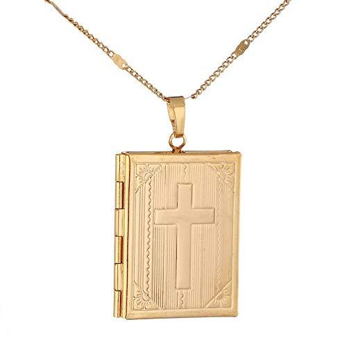 Moda Unisex Jesús Joyería 24K Color oro Cruz Libro Cruz Jesús Colgante Collar-Color dorado