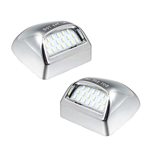 Chrome Led License Plate Lights Lamp Compatible with Silverado Suburban Gmc Sierra 1500 2500 3500 HD Tahoe Yukon Cadillac, 6500K White