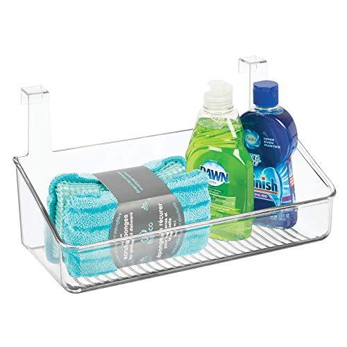 mDesign Einhängeregal für Küche, Bad & Abstellkammer – Hängeregal für die Tür aus Kunststoff – Hängekasten zur Aufbewahrung von Reinigungsmitteln, Shampoo & Co. – durchsichtig