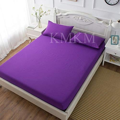 2/3PC Bed Sheet Set Fitted Sheet with Pillow Case Bedding Mattress Cover Brushed Microfiber Ultra Soft Hypoallergenic Breathable,Dark Purple,150x200cm(3pcs)
