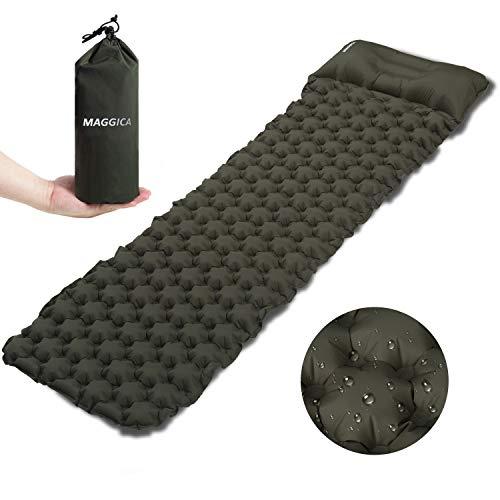 Magicca Sleeping Pad with Pillow for Camping Ultralight Camping Thick Mattress Large Self Inflating Sleeping Pad for Camping Backpacking Hiking Fishing and Traveling with Carrying Bag