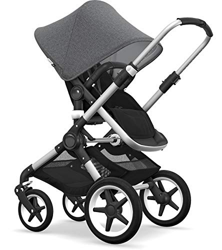 Bugaboo Fox Complete Full-Size Stroller - Fully-Loaded Foldable Stroller with Advanced Suspension and All-Terrain Wheels (Alu/Black/Grey Mélange)