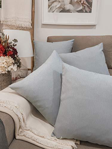 Pack 4 fundas de cojines para sofá EFECTO LINO suave, 16 COLORES fundas para almohada sin relleno, cojín decorativo grande para cama, salón. Almohadón elegante en varios tamaños.(Silver, 45x45cm)