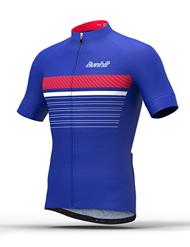 Runhit Men's Spin Class Cycling Jersey With Pockets