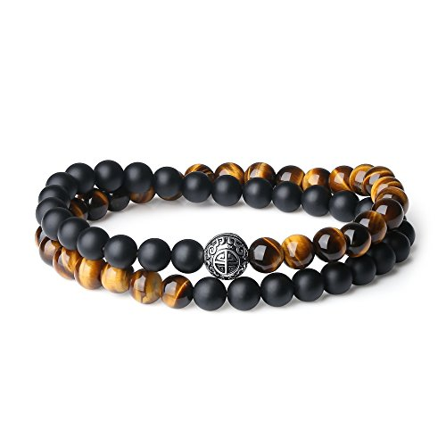COAI Double Layer 925 Sterling Silver 'Asia Blessing' Bead Onyx Tigers Eye Stone Bracelet