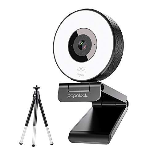 Webcam Streaming, PAPALOOK PA552 Web Camera HD 1080P con Micrófono Estéreo, Anillo de Luz y Trípode para Windows, Mac, Android,Twitch, Xbox One, OBS