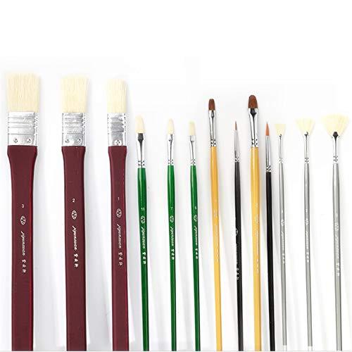 Yamyannie Ensemble de 13 pinceaux Professionnels en Nylon et Acrylique pour Aquarelle, Dessin, Croquis, Peinture