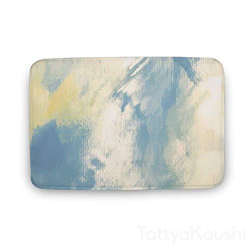 TattyaKoushi Badematte, rutschfest, superweich, saugfähig, trocknet schnell, abstrakt, blau, lila, gelb, Stil 23, 16x24 Inch